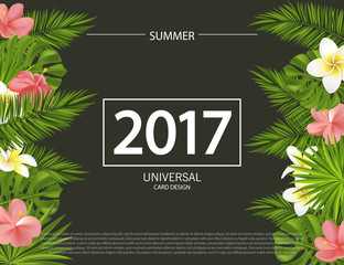 Trendy summer banner, poster with tropical flowers, plants and leaves . Vector universal background with place for text.