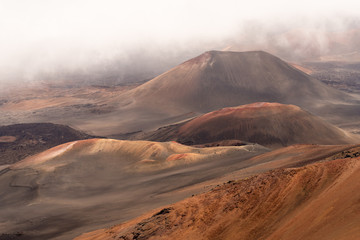 View into crater at summit of Haleakala volcano on Maui