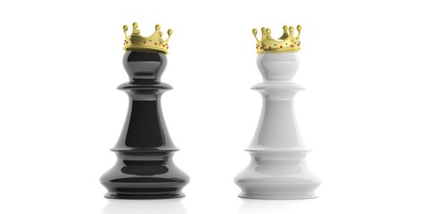 Chess pawns with crowns on white background. 3d illustration