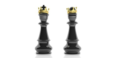 Black chess king and queen with crowns on white background. 3d illustration