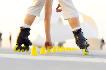 roller skater with inline skates in sea promenade , extreme sport athlete