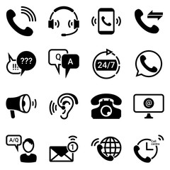 Set of simple icons on a theme Technical support, service, questions, answers, communication, office, internet, marketing, advertising, vector, set. Black icons isolated against white background
