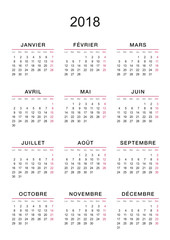CALENDRIER 2018 FRANÇAIS FOND BLANC
