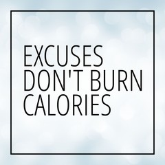 Workout motivation quote on white bokeh background