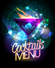 Cocktails menu shiny vector design with burning cocktail
