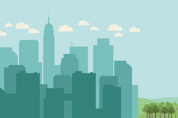 Flat design city landscape with silhouettes of buildings and forest on one side