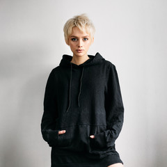 woman in black hoodie
