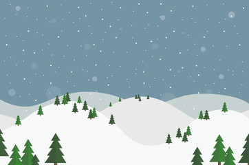 Flat design winter landscape with white hills, trees and falling snow