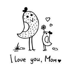 Two little birds: mother and baby bird. Black and white illustration in a hand-drawn style. Vector design suitable for greeting cards or T-shirts.