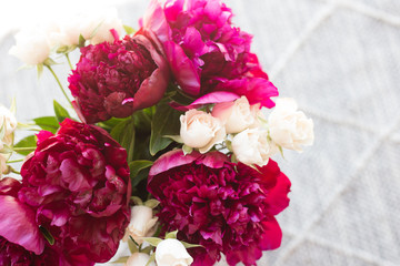 Maroon and White Bouquet