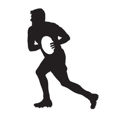 Running rugby player with ball, vector silhouette, side view