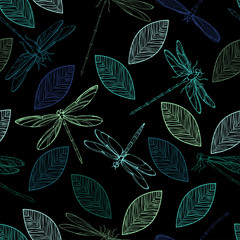 Colorful dragonflies and leaves on a black background. Seamless vector pattern.