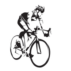 Cyclist on his road bike. Cycling abstract vector silhouette