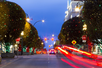 City of Victoria - Canada -  decorated for Christmas. People are shopping in downtown. Victoria's charm and beauty has a lot to offer for any world traveler.
