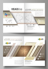 Business templates for bi fold brochure, magazine, flyer, booklet or annual report. Cover design template, abstract vector layout in A4 size. Alchemical theme. Fractal art background. Sacred geometry.