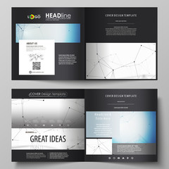 Business templates for square design bi fold brochure, magazine, flyer. Leaflet cover, vector layout. Geometric blue color background, molecule structure, science concept. Connected lines and dots.