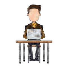 cartoon young man working laptop sitting image vector illustration