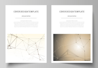 Business templates for brochure, flyer, booklet, report. Cover design template, vector layout in A4 size. Technology, science, medical concept. Golden dots and lines, digital style. Lines plexus.