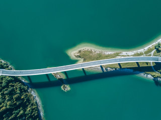 Aerial photograph of a bridge at lake Sylvenstein
