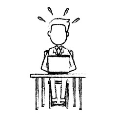 person working on computer sitting on a chair behind the office desk vector illustration