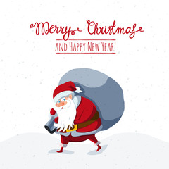 Christmas and New Year greeting card with Santa Claus
