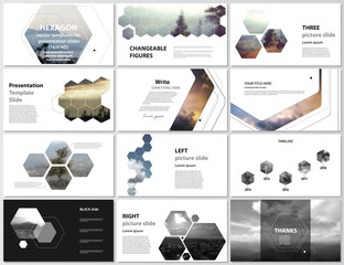 The minimalistic abstract vector illustration of editable layout of high definition presentation slides design business templates. Hexagonal style decoration for flyer, report, advertising, brochure