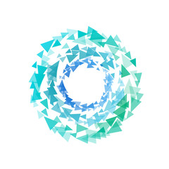 Abstract circle shape by triangles. Polygonal tornado logo on white background