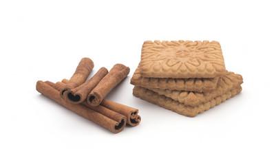 Biscuits, cinnamon sticks on white background