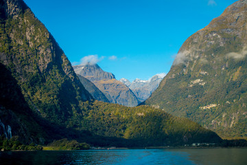 landscape of high mountain glacier at milford sound with a beautiful lake, in south island in New Zealand