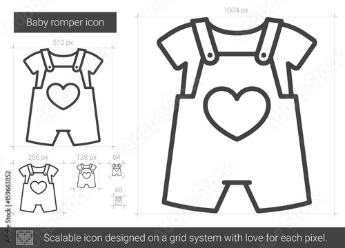 8c399b22cb1a Baby romper vector line icon isolated on white background. Baby romper line  icon for infographic