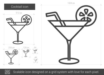 Cocktail vector line icon isolated on white background. Cocktail line icon for infographic, website or app. Scalable icon designed on a grid system.