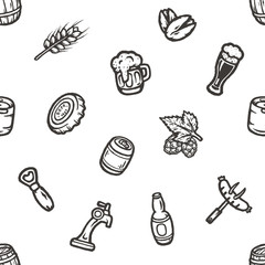 Hand drawn seamless pattern with beer stuff.