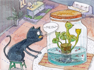 Cat plant whimsical art by me