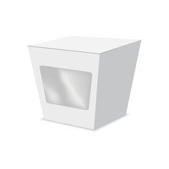 Vector illustration of die cut craft box with window . Package Mock up