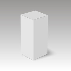 Blank vertical paper box template standing on white background. Vector illustration