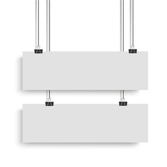 White poster mock up template hanging on binder. Two horizontal narrow paper banners. Vector illustration.