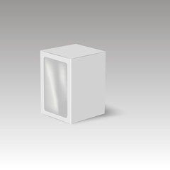 White product cardboard package box with window. Illustration Vector