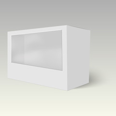 Product cardboard plastic package box with window. Vector  mock up template ready for your design.