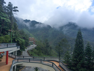 Road to Buddha Statue at Chin Swee Temple, Genting Highland, Malaysia.