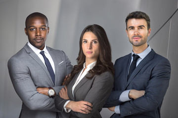 Strong serious group of lawyers team portrait pose, confident, determined, successful, powerful