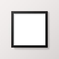 Realistic Empty Black Square Picture Frame Mockup