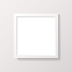 Realistic Empty White Square Picture Frame Mockup