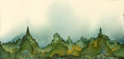 An original watercolor painting of rolling hills and mountains in green and blue.