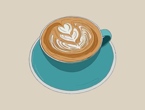 hot cappucino coffee with latte art , sketch vector.