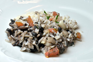 Closeup of a portion of Rice; beans and tomatoes on a white plate