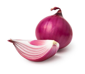 Red onion and slice isolated on white background with clipping path