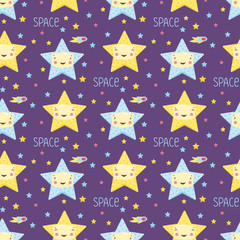 Funny stars in outer space cartoon seamless pattern. Cute blue and yellow stars with smiling faces on violet background with fiery comets vector illustration. For wrapper, greeting card, invitation