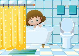 Girl taking bath in bathroom