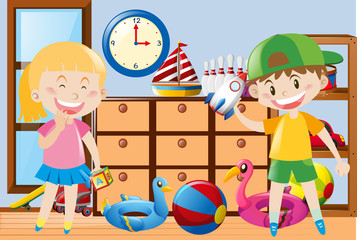 Boy and girl playing toys in the room