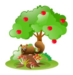 Squirrel under apple tree